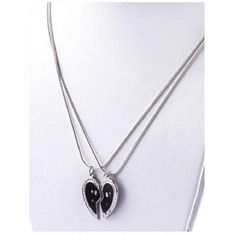 Best Friend Black Broken Heart Pendant