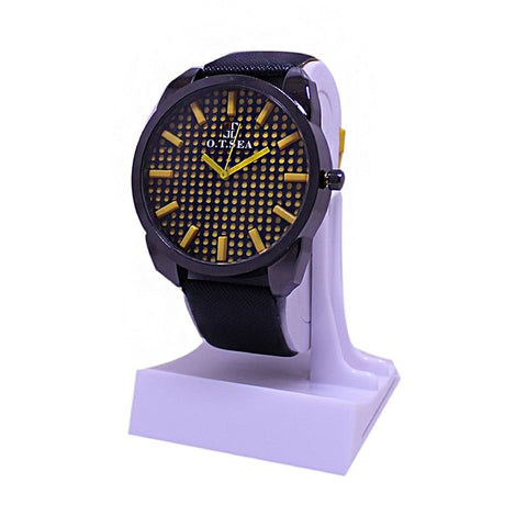 Yellow Dial Black Leather Strap Watch For Men