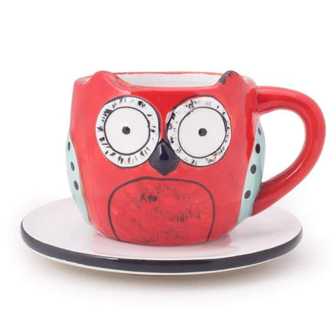 Wide Eyed Owl Cup & Saucer - Red
