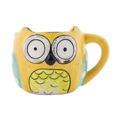 Wide Eyed Owl Cup & Saucer Yellow