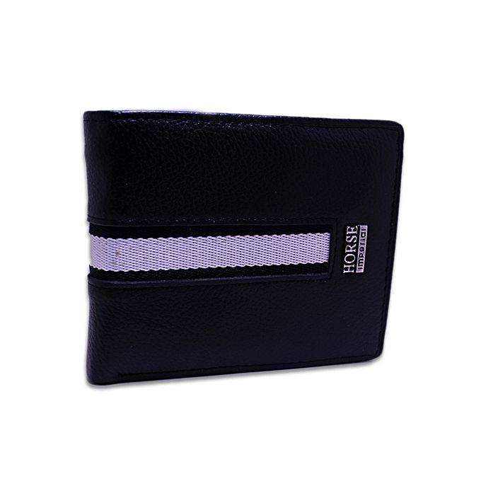 Black & White Leather Wallet For Men - Black