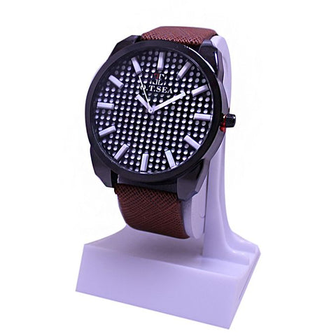 White Dial Brown Leather Strap Watch For Men