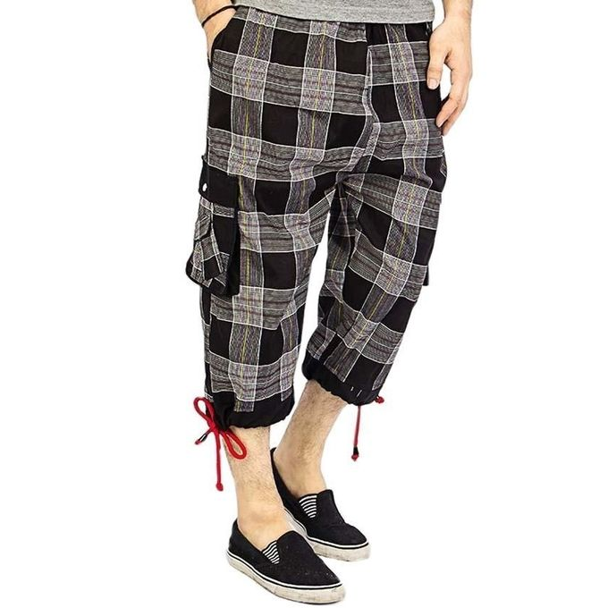 Grey & Black Cotton Checkered  Shorts for Men