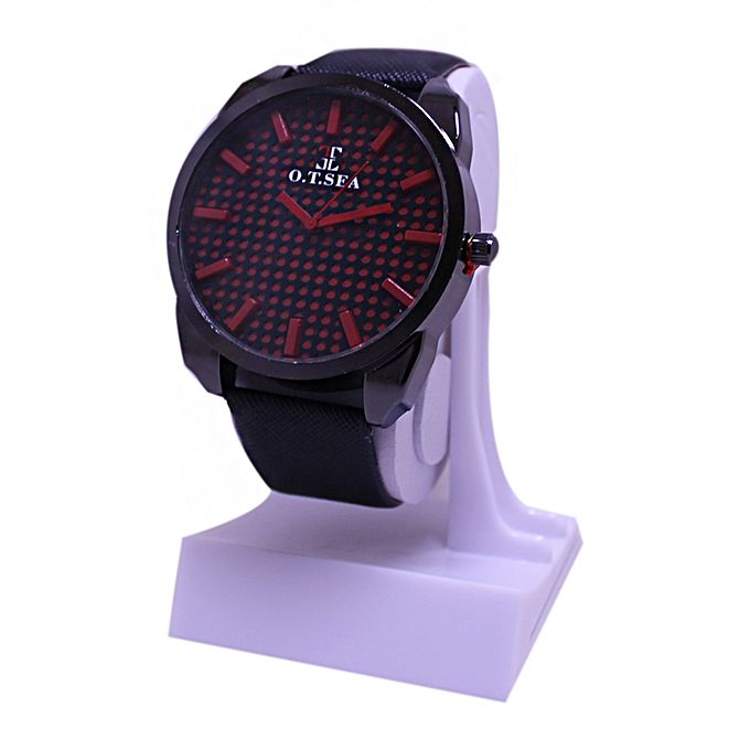 Red Dial Brown Leather Strap Watch For Men