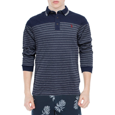 Printed Long Sleeves Polo Shirt for Men