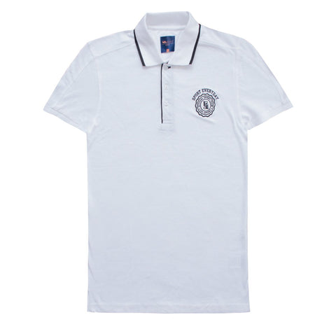 White Tipped Collar Polo Shirt for Men