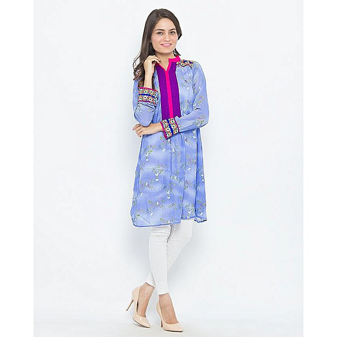 FC Printed Chiffon Embroidery Kurta for Women