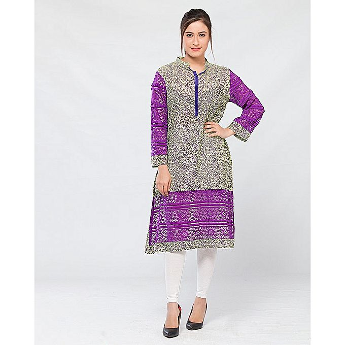 FC Purple Lawn Printed Kurta for Women