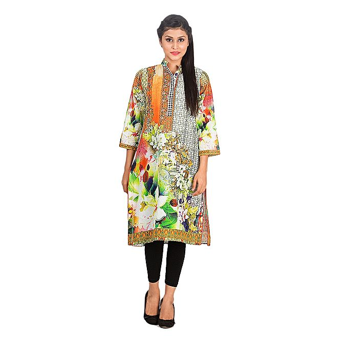 FC Multicolor Digital Printed Mercerized Lawn Kurta for Women