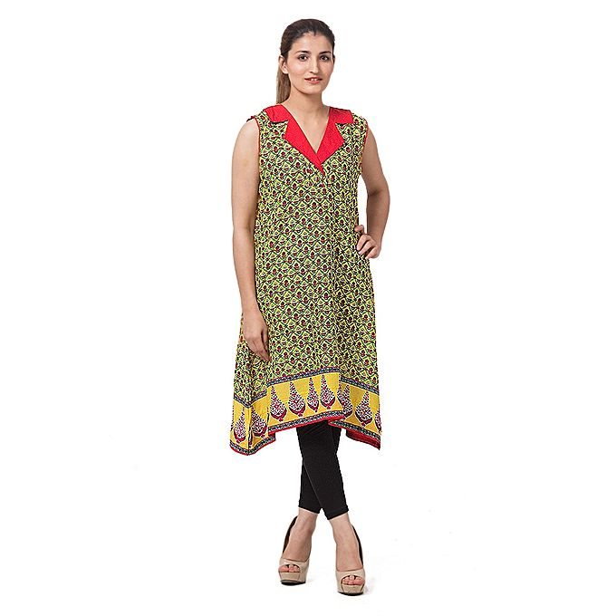 FC Yellow & Pink Lawn Printed Kurta for Women