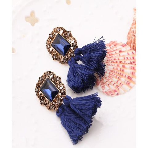 Vintage Crystal Tassel Dangle Earrings - GO
