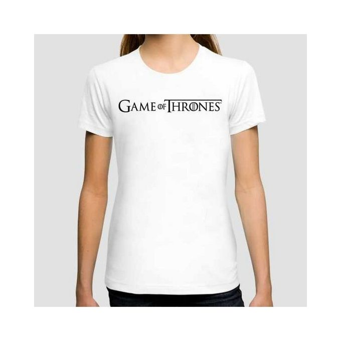 White Game of Thrones Half Sleeves T Shirt for Women