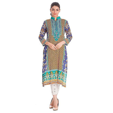 FC Blue & Orange Lawn Printed Kurta for Women