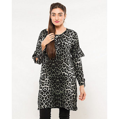 FC Black Printed Linen Kurta for Women