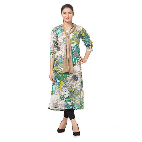 FC Multicolor Malai Lawn Kurta for Women