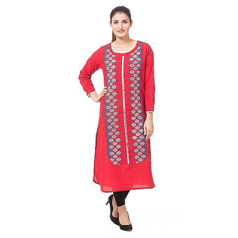 FC Red Lawn Kurta for Women
