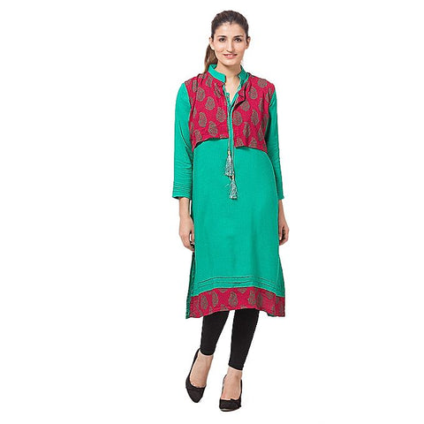 FC See-Green Malai Lawn Kurta for Women