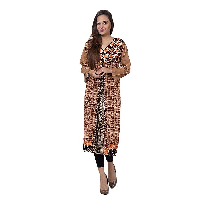 FC Brown Mercerized Lawn Embroidered for Women
