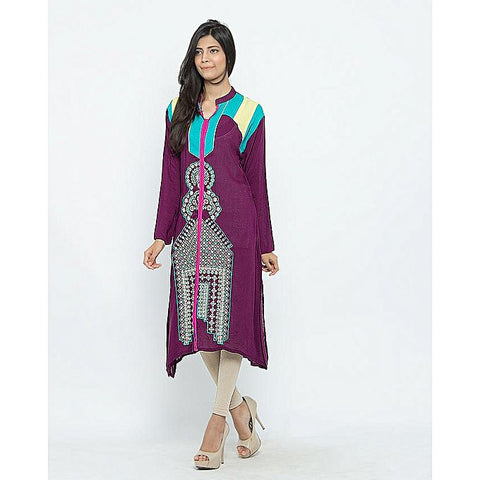 FC Malai Lawn With Color Block for Women