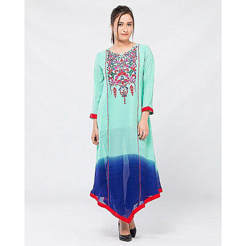 FC Blue Lawn Embroidered Kurta for Women