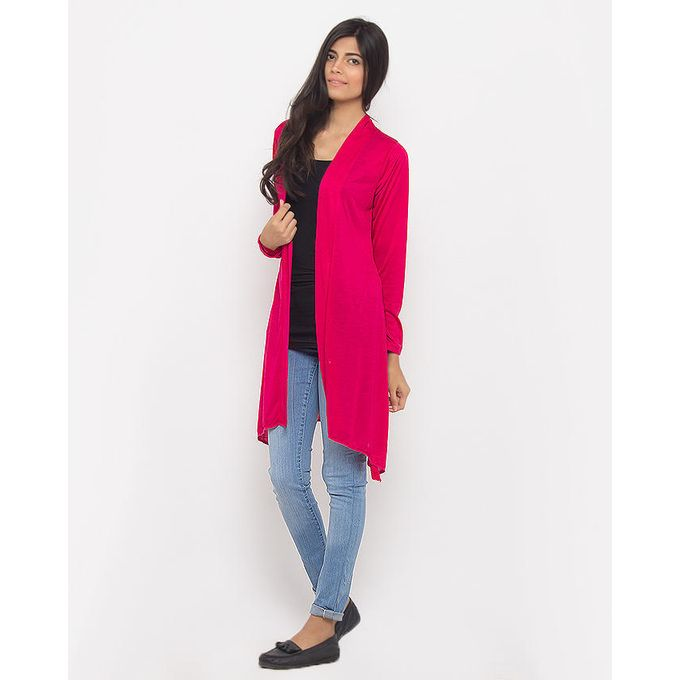 Pink Solid Viscose Shrug - M D Z -2