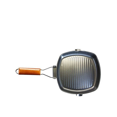 Nonstick Grill Pan with Wood Handle Black