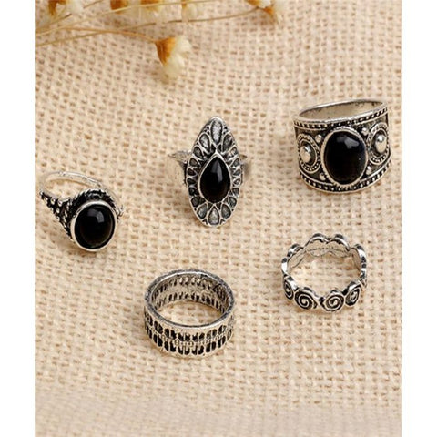 Retro Black Gem Ring Water Droplets Clouds Circle Rings - GO