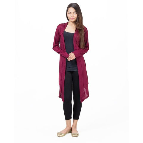 Red Viscose Long Shrug For Women