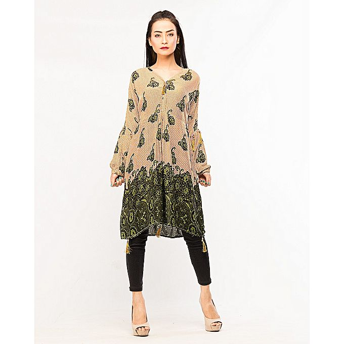 FC Printed Cut Style Linen Kurta for Women