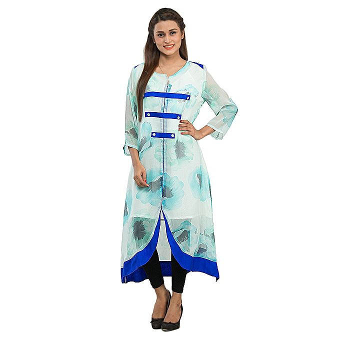 FC Blue Chiffon Kurta for Women