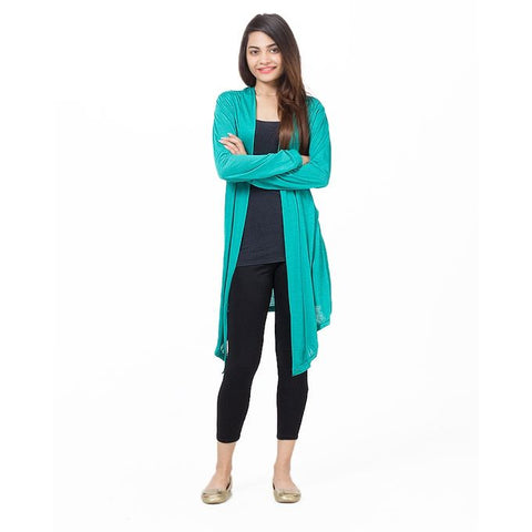 Sea Green Viscose Long Shrug