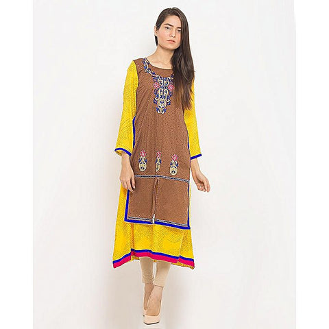 FC Printed Cotton Kurta Embroidered for Women