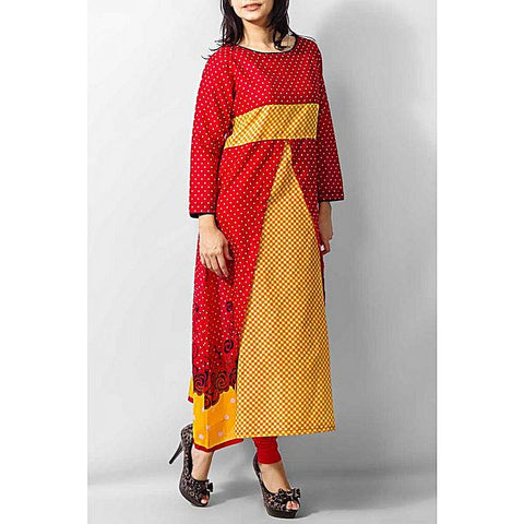 FC Red Lawn Kurta With Check for Women