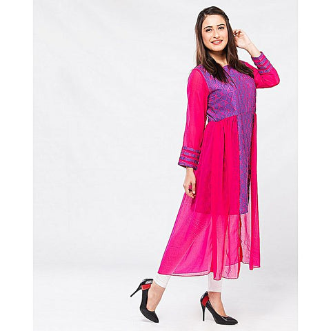 FC Pink Chiffon Lawn Kurta for Women