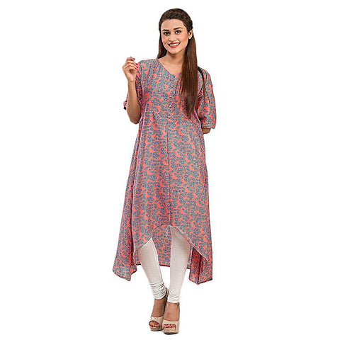 FC Peach Cotton Basic Kurta for Women