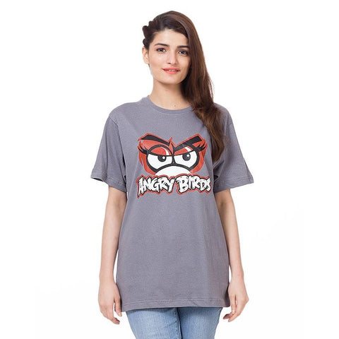 Grey Cotton Half Sleeves Printed T Shirt for Women