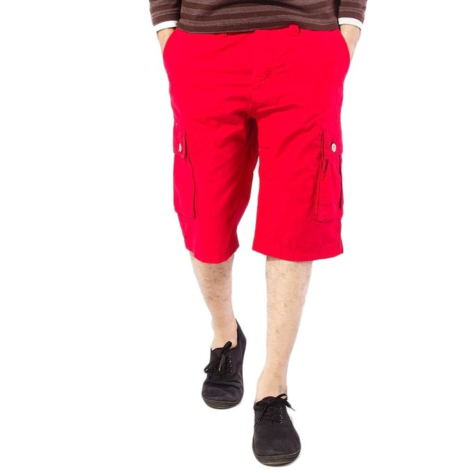 Red Cotton Cargo Shorts for Men
