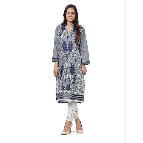FC Grey Printed Lawn Kurta for Women