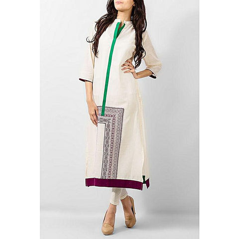 FC Lawn Kurta With Green Placket for Women