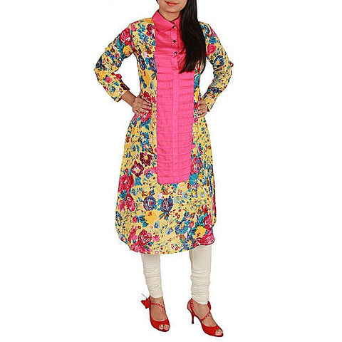 FC Linen Kurta Pink Contrast for Women