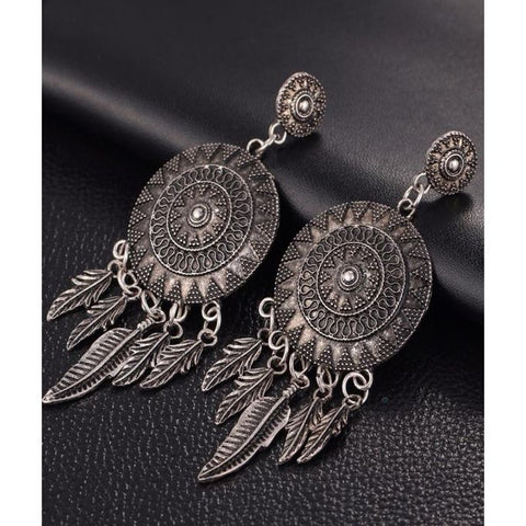 Vintage Leaf Feather Dangle Earrings - GO