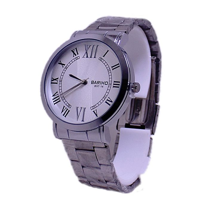 B97-14 - Silver Stainless Steel Analog Watch for Men