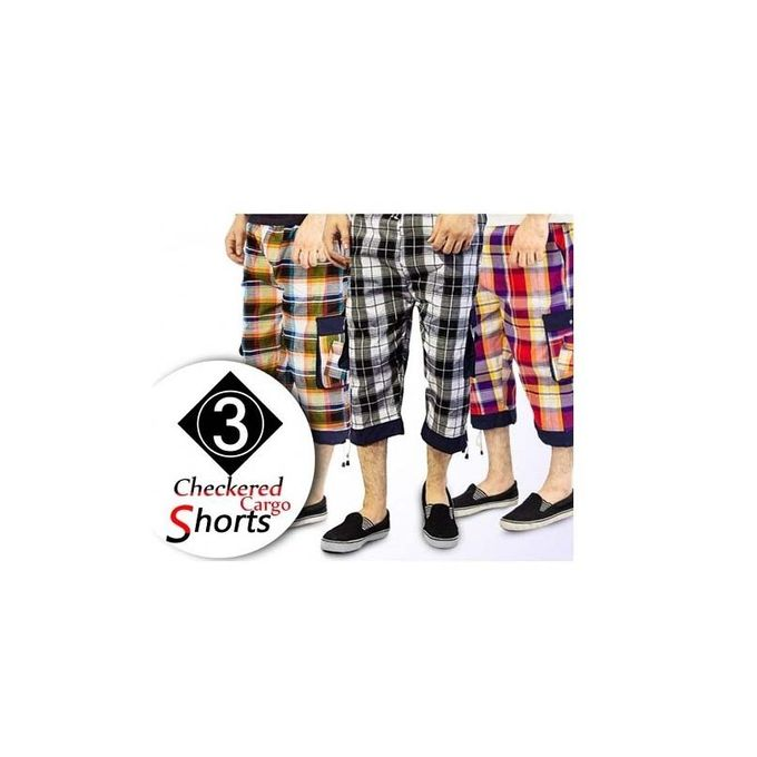Pack Of 3 Multicolor Cotton Mix Checkered Shorts