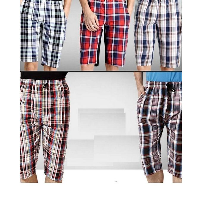 Pack of 5 Checkered Cotton Shorts for Men