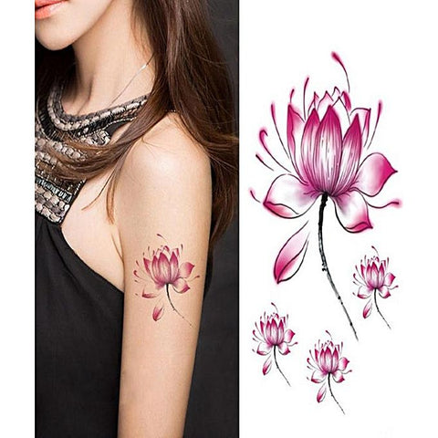 Pack of 4 Temporary Body Art Lotus Flower Tattoo WH-0032