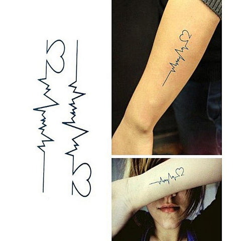 Pack Of 2 Electrocardiogram Shape Temporary Tattoo Wh-0029