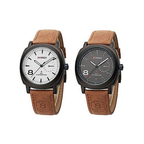 Pack of 2 - Leather Strap Watch for Men - Brown