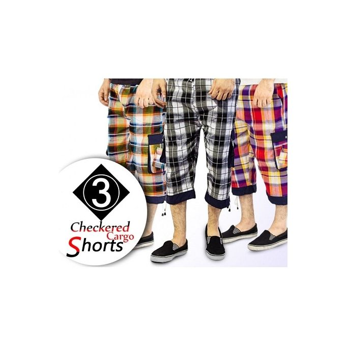 Pack of 3 Multicolour Cotton Checkered Shorts for Men