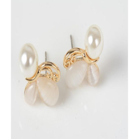 Opal Earrings Simulated Pearl Jewelry Butterfly - GO