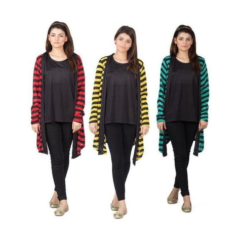Pack of 3 - Yellow, Green and Red Polyester Lining Shrugs For Women